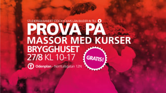 Vilken är din grej? Kom och prova på gratis kurser 27 augusti i Brygghuset  på Norrtullsgatan 12N, T-Odenplan.