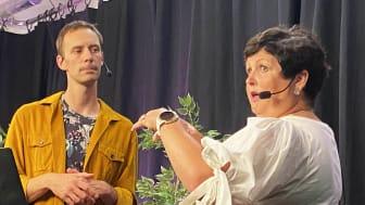 Programledare Fredrik Bauer i samspråk med Christina Wainikka, policyexpert för immaterialrätt på Svenskt Näringsliv