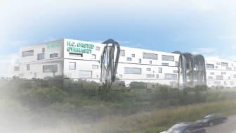Modeltegning af det nye H.C. Ørsted Gymnasie i Lyngby