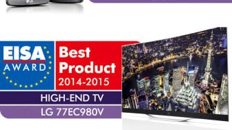 """EISA LOVPRISER LGs OLED-TV FOR TREDJE ÅRET PÅ RAD, OG LG G3 ER UTNEVNT TIL """"ADVANCED SMARTPHONE 2014-2015"""""""