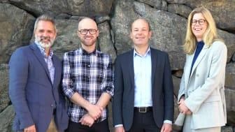 Johan Stribeck, BIM- och VDC-ansvarig för Slussen-projektet, programledare Viktor Ginner, Jan-Olof Edgar, AMA-chef på Svensk Byggtjänst och Susanne Nellemann Ek, nybliven VD för BIM Alliance.
