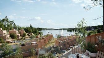 Havsutsikt från alla bostäder i förslaget för Moranviken i Saltsjöbaden. Dessutom föreslås en allmän badplats.