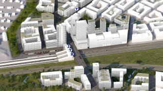 Visionsbild över Veddesta efter omvandlingen till stadsmiljö. Illustration: AIX Arkitekter.