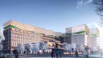 Visionsbild på Trygg-Hansahuset med föreslagen påbyggnad, MANUELLE GAUTRAND ARCHITECTURE  /Stockholms Stad