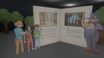 Bild från utställningen Sagolandet Skaraborg som visades på Kulturfabriken under sommaren 2020. Utställningen ingick i Högskolans arbete med kulturarvsförmedling. Foto: Alexander Ros