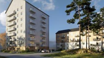 Lindbäcks koncepthus för Sveriges Allmännytta, Tetris punkthus och lamellhus.