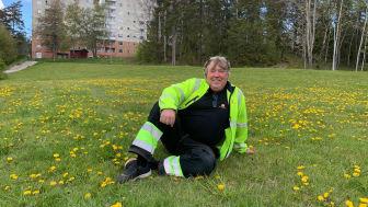 Dennis Cronlund, miljövärd, i en av Botkyrkabyggens insektsrestauranger. Foto: Botkyrkabyggen