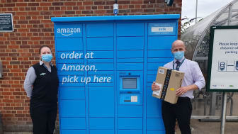 Staff at Hassocks station with the new Amazon Hub Lockers