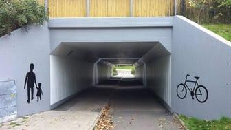 Gång- och cykeltunnel i Kävlinge tätort.