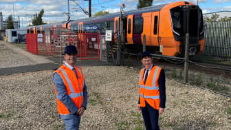 Julian Edwards, managing director, West Midlands Trains with Andy Street, Mayor of the West Midlands at Bombardier UK in Derby.