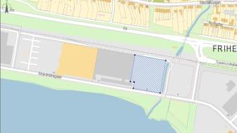 Den aktuella platsen, där Dux lokaler tidigare låg, är inritad på kartan.