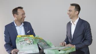 Konsernsjef Jaan Ivar Semlitsch (t.v.) og  Kenneth Haavet, konserndirektør Orkla Consumer & Financial Investments. (Foto: Trygve Indrelid, NTB).