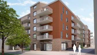 Ikano Bostad AB bygger cirka 60 bostadsrätter i kvarteret Pedalvagnen. Vy från Industrigatan mot den nya kvartersgatan Spårvägen i Sorgenfri.
