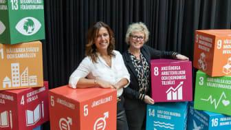 Eva Nyh Hederberg på BizMaker och Carina Bergquist Palm på Nordeas Norrlandsstiftelse ser fram emot att premiera hållbara företag.