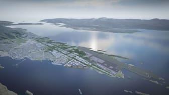 Den nye flyplassen i Bodø skal stå ferdig i 2027 og blir starten på en helt ny bydel som skal utvikles. Illustrasjonsbilde: Bodø kommune