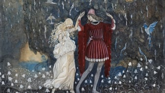 John Bauer, Lena och riddaren dansa, 1915, akvarell, tusch, täckvitt och blyerts på papper, 26 x 28,5 cm.