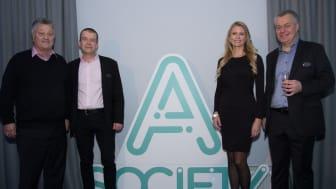 Från vänster: Dan Olofsson (huvudägare), Per-Ola Malm (vVD), Jeanette Rumenius (vVD), Thomas Goréus (VD)