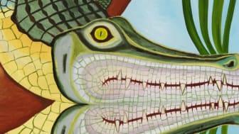 Krokodil vid vatten (detalj), Amalia Årfelt, 2018.
