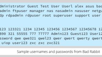 """För att komma åt datorer använder Bad Rabbit bland annat en """"worst passwords list"""""""