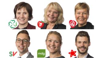 Kjersti Toppe, Kari Kjønaas Kjos, Hege Haukeland Liadal, Nicholas Wilkinson, Une Bastholm og Bjørnar Moxnes. Portrettfoto: Stortinget