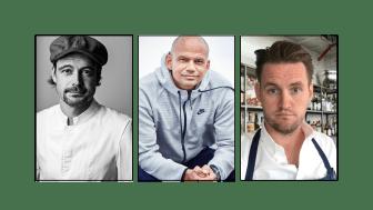 Tre markante madmennesker - Thomas Herman, Jesper Vollmer og Jesper Marcussen har sagt ja til at være ambassadører for FødevareBanken.