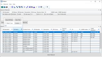 Screenshot: Filterfunktioner i Matbas PED