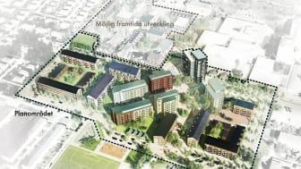 Visionsbild över Bäckby centrum utifrån detaljplaneförslaget.