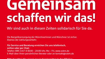 """Die Stadtsparkasse München ist """"Die Bank unserer Stadt"""" –  erst recht in der Corona-Krise"""