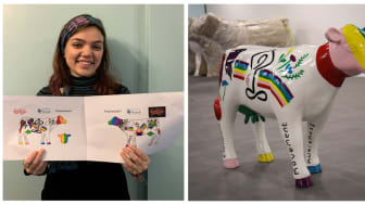 Alice's winning design has been brought to life on a cow sculpture - MORE IMAGES AND VIDEO AVAILABLE TO DOWNLOAD BELOW
