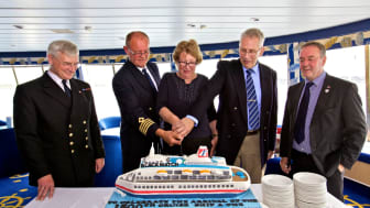 Kirkwall celebrates 1,500th cruise call and 750,000th cruise guest with the arrival of Fred. Olsen's 'Black Watch'
