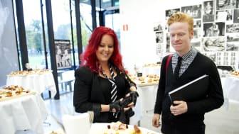 Matbloggaren Madeleine Landley och Scans allvetare Janne Nordlund Othén på Svenskt Kötts pressträff om charkuterier #svenskchark