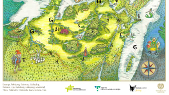 Den här kartan över Sagolandet Skaraborg kommer att finnas i KLUBs monter på Bokmässan. Bokstavsfigurerna går att skanna och finns ungefär på de platser där de förekommer i böckerna.