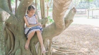 I sommar uppmuntrar biblioteken barn och unga att läsa överallt, även i träd.