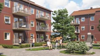 Illustration av gårdssida med balkonger/altaner och gröna ytor, BoKlok Skölden i södra Hemlingby, Gävle