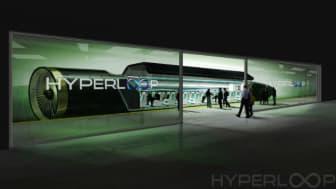 Passagerare kliver ombord Hyperloop One.