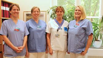 Från vänster: överläkare Ann-Ida Eliasson, sjuksköterska Ann-Louise Leiby, sjuksköterska och frakturkoordinator Evalena Sandh, överläkare och biträdande klinikchef Katrin Rimsby på osteoporosmottagningen på Norrtälje sjukhus.