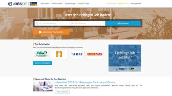 Screenshot der aktuellen Startseite von Jobs.de nach dem Re-Launch