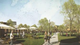 Kulturparken – en ny park som föreslås byggas utanför Culturen. Illustration: Archus och Sweco Architects