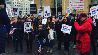 Protest mot Trumps politik. Foto: Linnea Sandström Lange