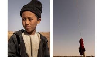 A portrait of Abdul*, 9, alongside a photo he has taken of the sky.