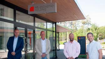 Från vänster Mikael Antonsson, Gasum, Christer Wikström, Arlandastad Holding, Patrick Hedh, Gasum och Dieter Sand, Arlandastad Holding.