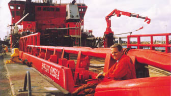 This is what the 'Esvagt Omega' looked like when ESVAGT collected her from Norway in 1987. Ole Andersen, then director at ESVAGT, was pleased to welcome the vessel to the fleet and for the opportunities it brought with it for the shipping company.