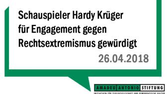 Schauspieler Hardy Krüger für Engagement gegen Rechtsextremismus gewürdigt
