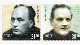 André Bjerke (til venstre) og Hans Børli er motiv på frimerker som utgis 9. november.