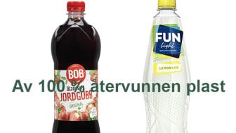 Flaskorna från BOB och FUN Light produceras nu med 100 % återvunnen plast