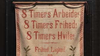 """Banner with the text """"8 Hours' Work! 8 Hours' Freedom! 8 Hours' Rest!"""", around 1914"""