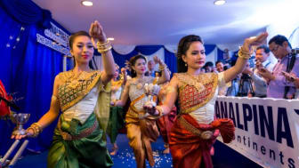 Traditional  Aspara dancers, honor the new offices by with a dance to bring luck and prosperity