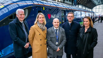 Steve Montgomery, MD First Rail, Louise Cheeseman, MD Hull Trains, Richard Vernon, Fleet Project Engineer Hull Trains, Jim Brewin, Project Director Hitachi Rail, Susan Holliday, Angel Trains