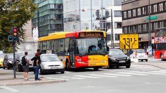 Public transport bus in service near the Central station in Copenhagen.