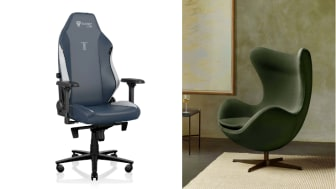 Image of the Titan chair (left) from the Secretlab website,  and image of the Egg chair from the Fritz Hansen website